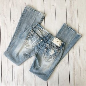 Miss me size 26 light wash bootcut jeans